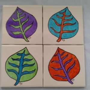 Other - Ceramic Coasters Hand Painted Artist Signed